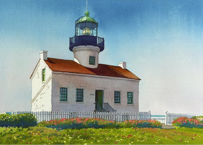 Point Loma Lighthouse Greeting Card featuring the painting Point Loma Lighthouse by Mary Helmreich