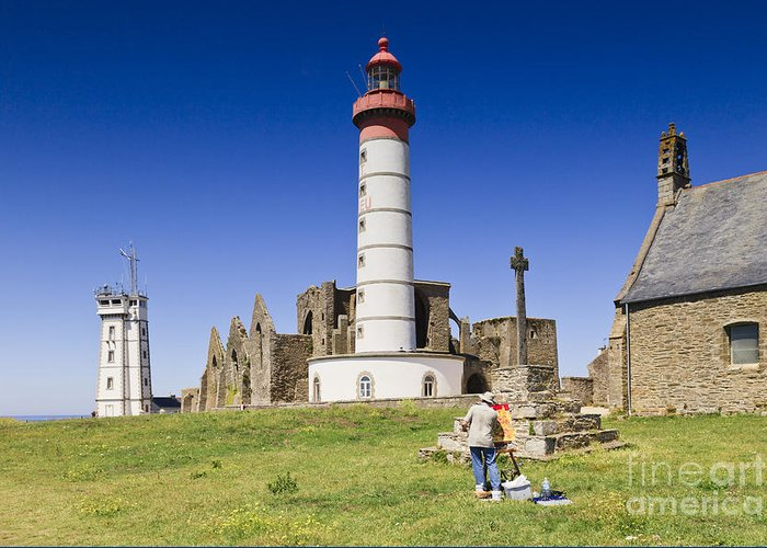 Abbey Greeting Card featuring the photograph Pointe Saint Mathieu Brittany France by Colin and Linda McKie