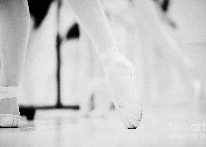 Ballet Greeting Card featuring the photograph Pointed Toe In Ballet Slippers At A Ballet School In The Uk by Joe Fox