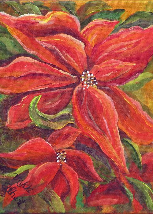 Pointsetta Greeting Card featuring the painting Pointsettia by Mikki Alhart