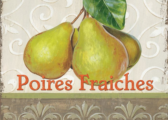 Kitchen Greeting Card featuring the painting Poires Fraiches by Debbie DeWitt