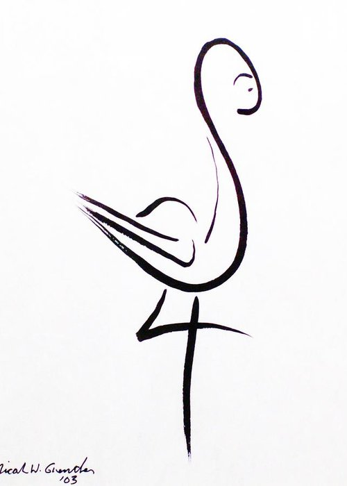 Abstract Greeting Card featuring the drawing Poise by Micah Guenther