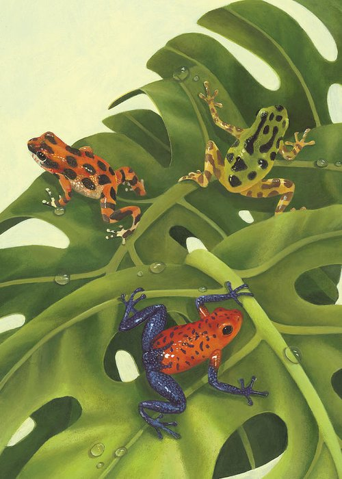 Frogs Greeting Card featuring the painting Poison Pals by Laura Regan