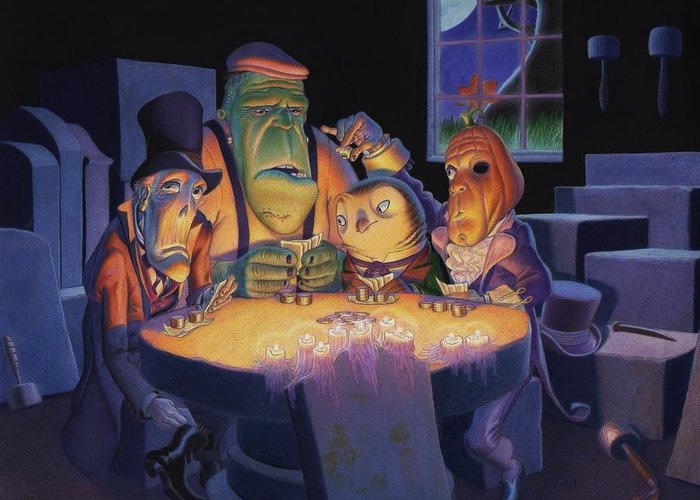 Halloween Greeting Card featuring the painting Poker Buddies by Richard Moore