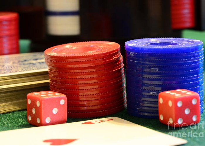 Paul Ward Greeting Card featuring the photograph Poker Chips by Paul Ward