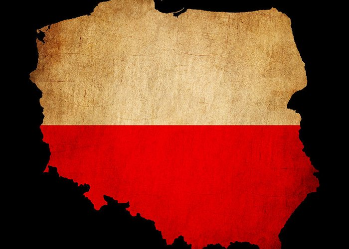 Flag Greeting Card featuring the photograph Poland Grunge Map Outline With Flag by Matthew Gibson