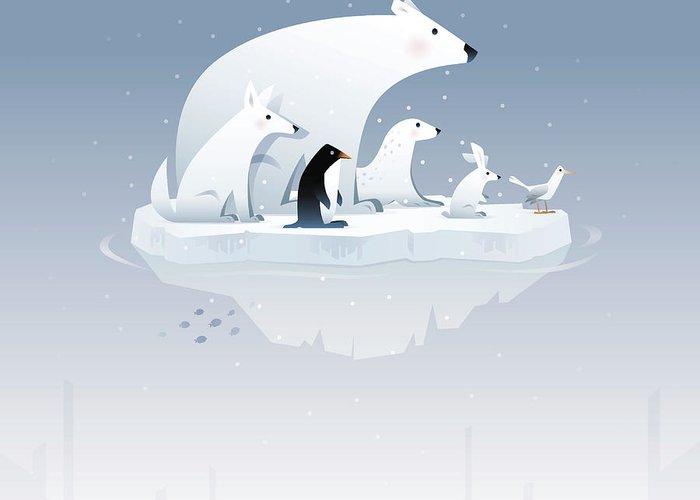 Arctic Fox Greeting Card featuring the digital art Polar Bear And Friends by Id-work
