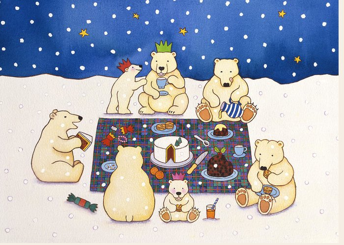 Christmas Greeting Card featuring the painting Polar Bear Picnic by Cathy Baxter