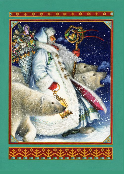 Polar magic greeting card for sale by lynn bywaters santa claus greeting card featuring the painting polar magic by lynn bywaters m4hsunfo