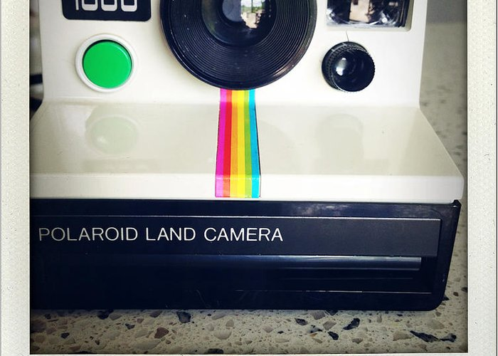 Aged Greeting Card featuring the photograph Polaroid Camera. by Les Cunliffe