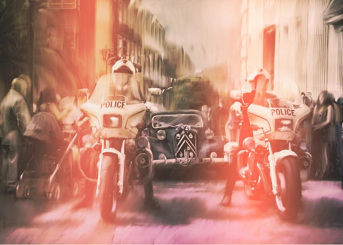 Police Greeting Card featuring the photograph Police escort by Stephen Ignacio