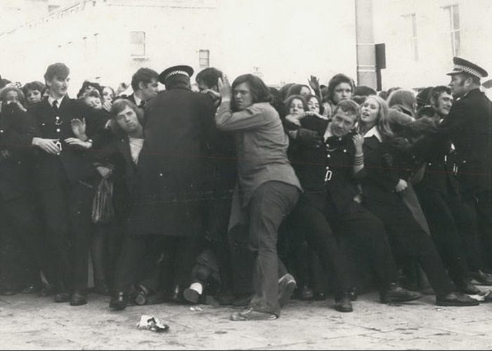 retro Images Archive Greeting Card featuring the photograph Police Hold Back Screaming Fans Trying To Get Tickets by Retro Images Archive