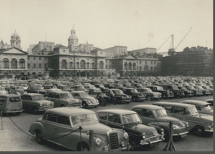 retro Images Archive Greeting Card featuring the photograph Police Lift Parking Restrictions As Transport Strike Brings by Retro Images Archive