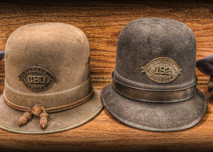 Police Greeting Card featuring the photograph Police Officer - Vintage Police Hats by Lee Dos Santos