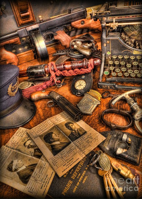 Police Greeting Card featuring the photograph Police Officer- The Detective's Desk II by Lee Dos Santos
