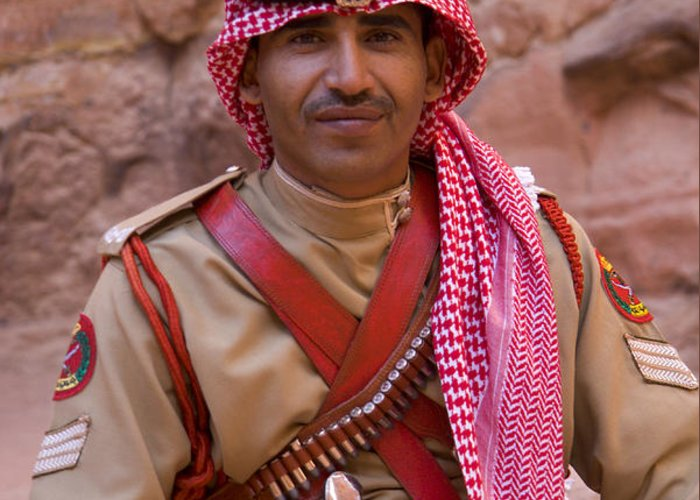 Jordanian Greeting Card featuring the photograph Policeman In Petra Jordan by David Smith