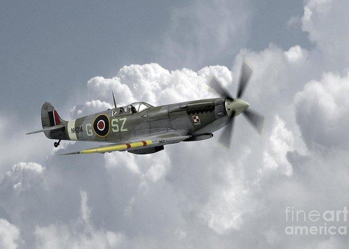 Supermarine Spitfire Greeting Card featuring the digital art Polish Spitfire Ace by J Biggadike