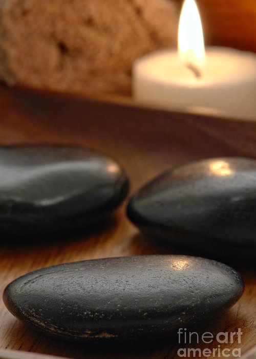 Spa Greeting Card featuring the photograph Polished Stones In A Spa by Olivier Le Queinec