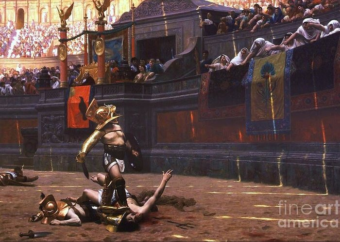 Pd Greeting Card featuring the painting Pollice Verso by Pg Reproductions