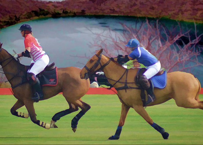 Polo Greeting Card featuring the photograph Polo Match by Peter Hogg