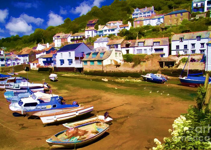 Polperro Greeting Card featuring the photograph Polperro At Low Tide by David Smith