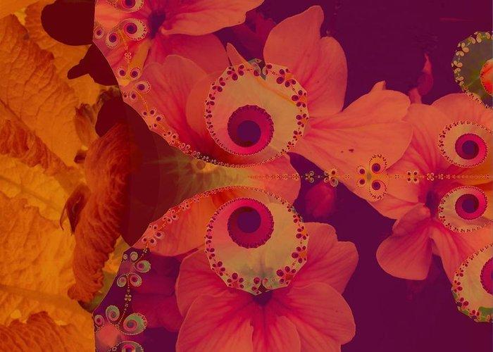 Digital Art Greeting Card featuring the digital art Polyanthus Spiral by Nancy Pauling
