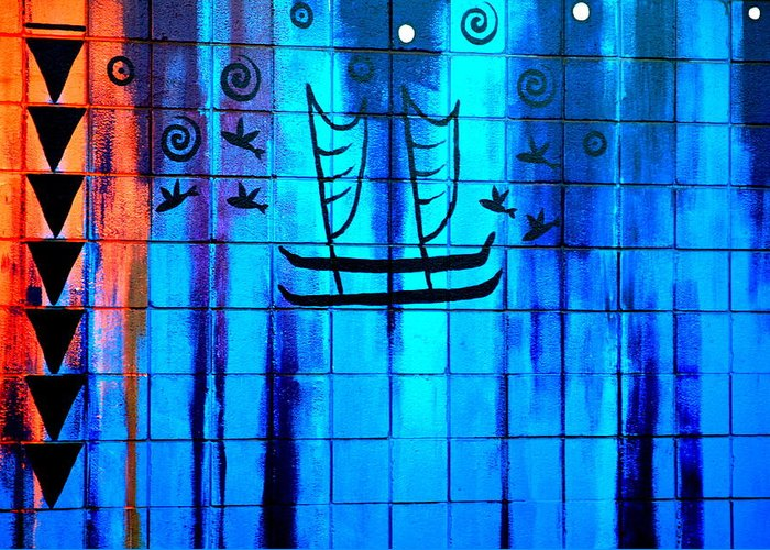 Sailboat Greeting Card featuring the photograph Polynesian Graffiti by Karon Melillo DeVega