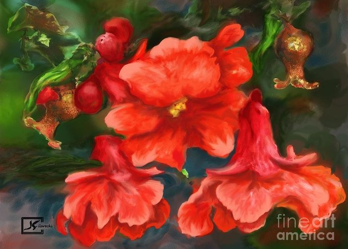 Pomegranate Greeting Card featuring the painting Pomegranate Blooms Floral Painting by Judy Filarecki