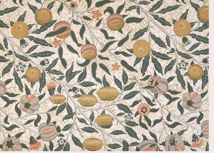 Pattern Greeting Card featuring the painting Pomegranate Design For Wallpaper by William Morris