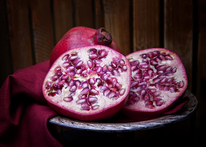 Art Greeting Card featuring the photograph Pomegranate Still Life by Tom Mc Nemar