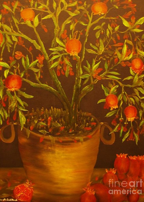 Pomegranate.plant Greeting Card featuring the painting Pomegranate Tree Of Love-original Sold- Buy Giclee Print Nr 28 Of Limited Edition Of 40 Prints  by Eddie Michael Beck