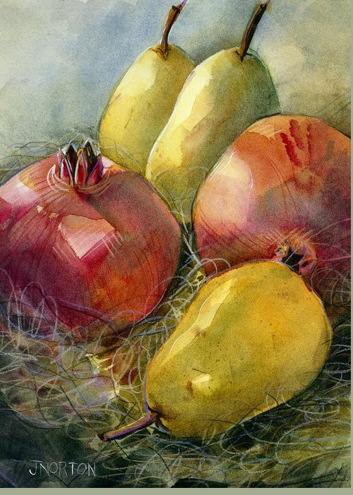 Jen Norton Greeting Card featuring the painting Pomegranates And Pears by Jen Norton