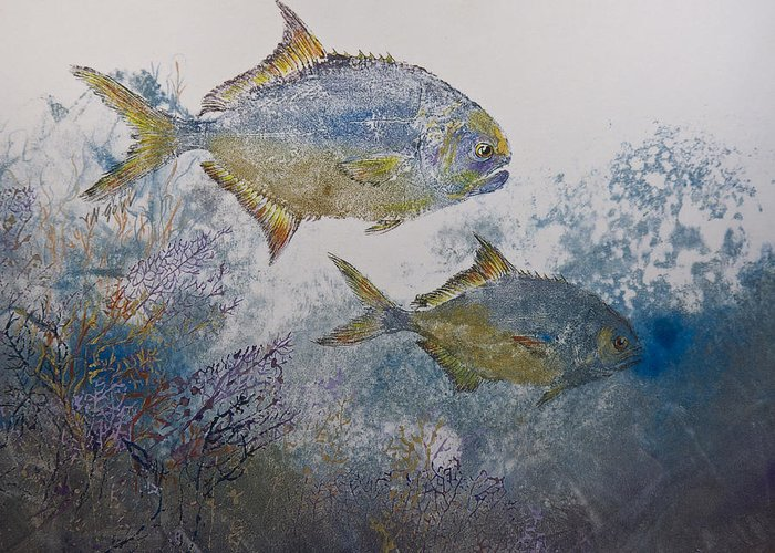 Fish Greeting Card featuring the mixed media Pompano And Sea Fans by Nancy Gorr