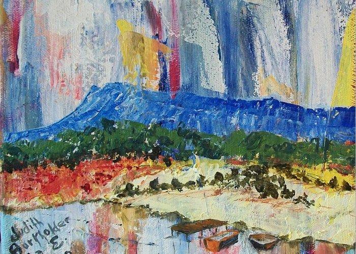Massanutten Peak Greeting Card featuring the painting Pond By Massanutten Peak - Sold by Judith Espinoza