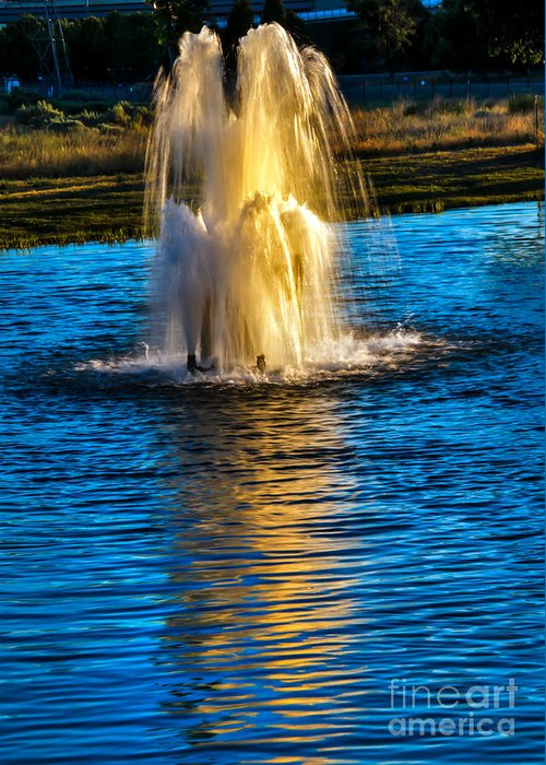 Pond Greeting Card featuring the photograph Pond Fountain by Robert Bales