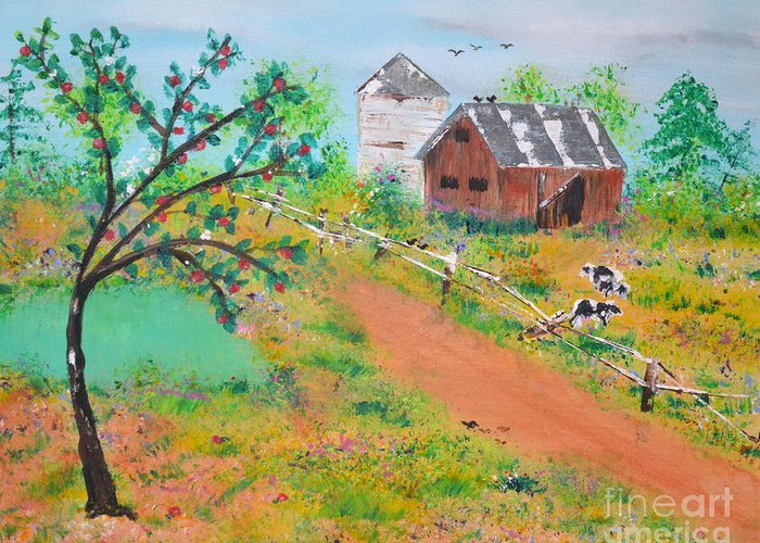 Pond Greeting Card featuring the painting Pond Hill Road by Denise Tomasura