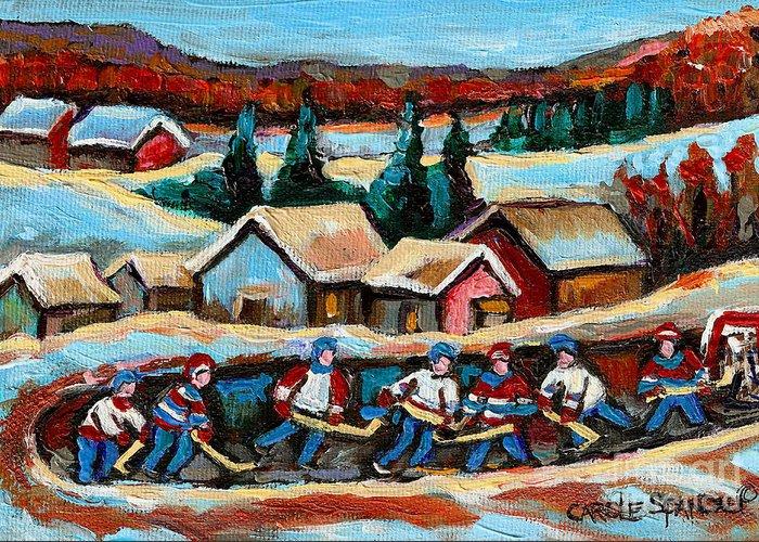 Pond Hockey Greeting Card featuring the painting Pond Hockey 2 by Carole Spandau