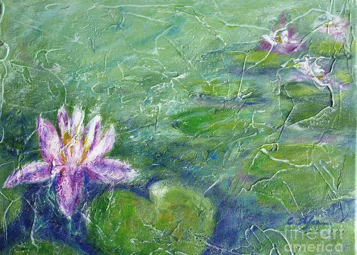 Water Lily Greeting Card featuring the painting Green Pond With Water Lily by Cristina Stefan