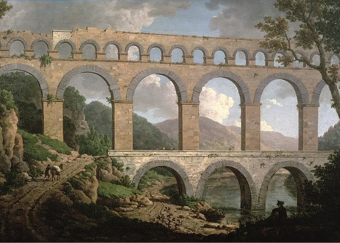 Aqueduct Greeting Card featuring the painting Pont Du Gard, Nimes by William Marlow