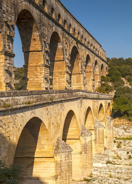 France Greeting Card featuring the photograph Pont Du Gard Roman Aquaduct Languedoc-roussillon France by Colin and Linda McKie