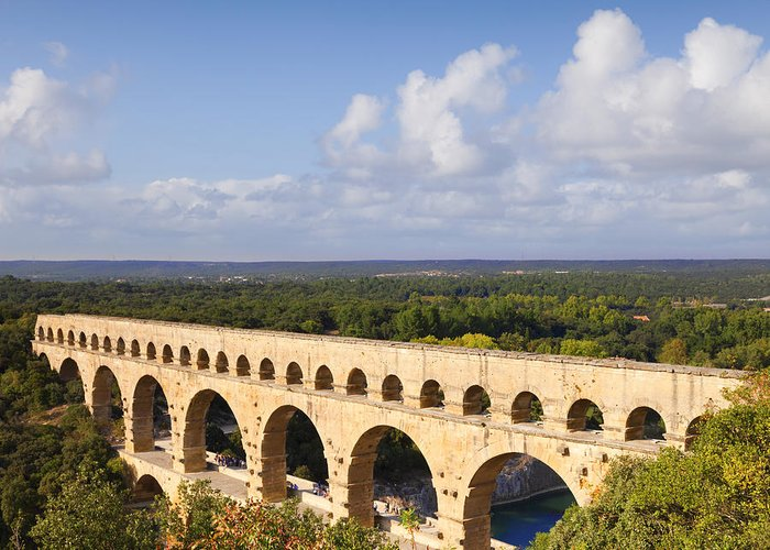 Antiquity Greeting Card featuring the photograph Pont Du Gard Roman Aqueduct Languedoc Roussillon France by Colin and Linda McKie