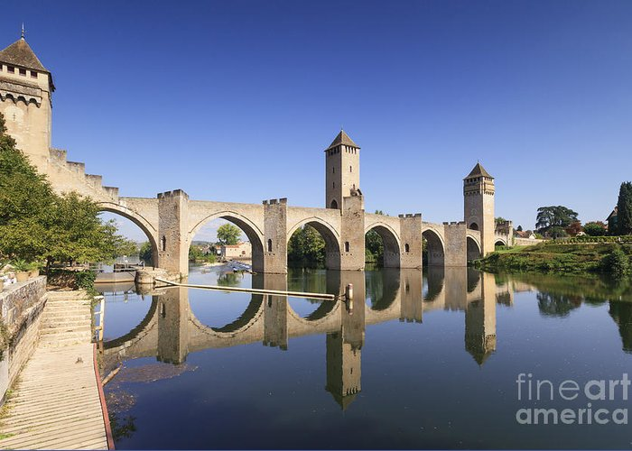 Bridge Greeting Card featuring the photograph Pont Valentre Cahors France by Colin and Linda McKie