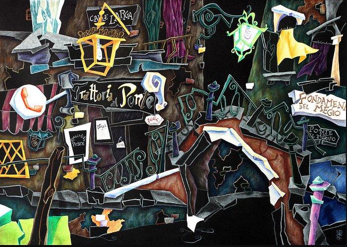Contemporary Art Greeting Card featuring the painting Ponte Del Megio - Venice Fine Art Collage by Arte Venezia