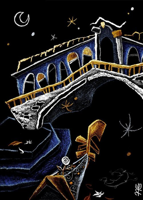 Rialto Greeting Card featuring the drawing Ponte Di Rialto - Grand Canal Venise Gondola Illustration by Arte Venezia