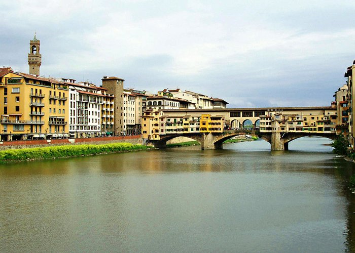 Ponte Vecchio Greeting Card featuring the photograph Ponte Vecchio 1 by Ellen Henneke