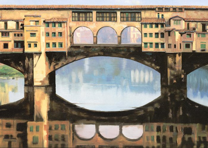 Pontevecchio Greeting Card featuring the painting Ponte Vecchio A Firenze by Guido Borelli
