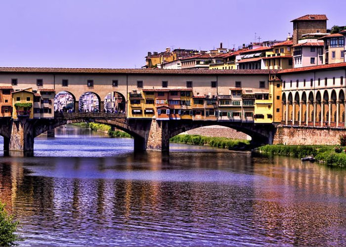 Ponte Vecchio Greeting Card featuring the photograph Ponte Vecchio Bridge - Florence by Jon Berghoff