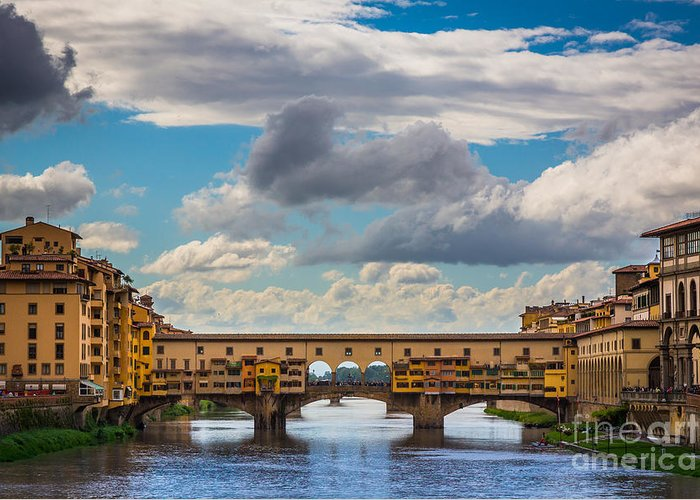 Arno Greeting Card featuring the photograph Ponte Vecchio Clouds by Inge Johnsson