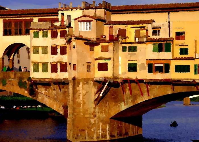 Ponte Vecchio Greeting Card featuring the photograph Ponte Vecchio In Florence by Jacqueline M Lewis