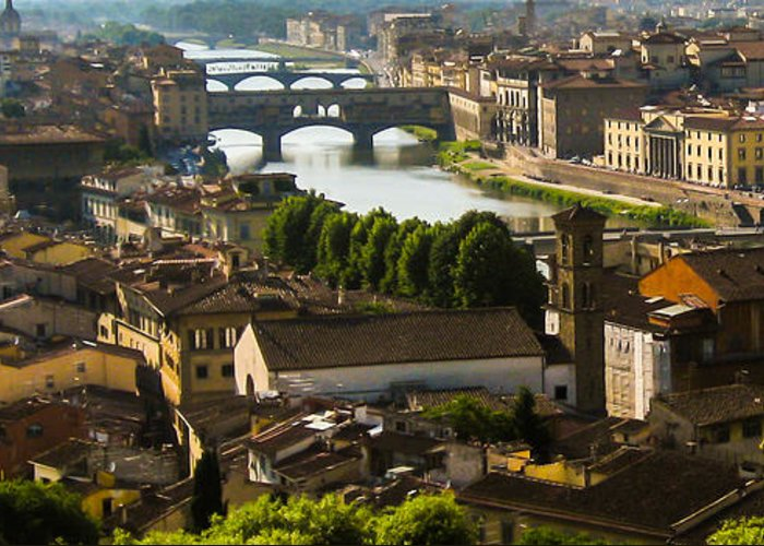 Ponte Vecchio Greeting Card featuring the photograph Ponte Vecchio Late Afternoon by Jon Berghoff